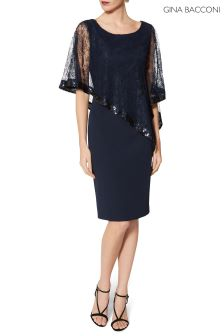 Gina Bacconi Navy Kamila Lace Cape Dress
