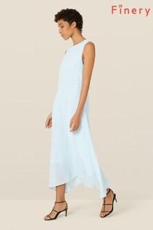 Finery London Blue Ashley Dipped Hem Dress