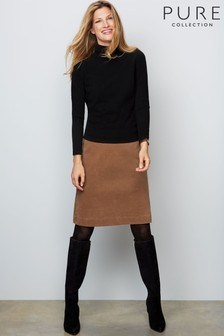 Pure Collection Camel A-Line Skirt