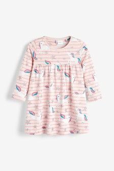 Unicorn Print Stripe Dress (3mths-7yrs)