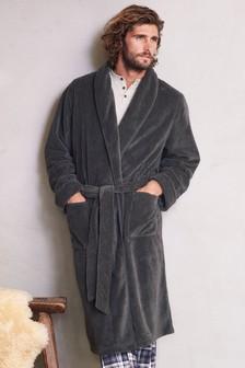 Herringbone Fleece Dressing Gown