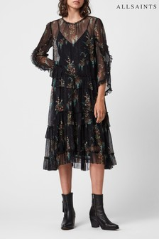 AllSaints Black Mesh Floral Midi Dress