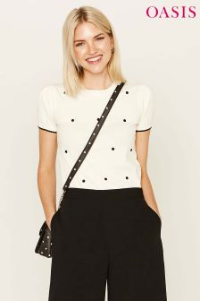 Oasis Black Spot Embroidered Knit