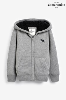 Abercrombie & Fitch Grey Sherpa Zip Through Hoody