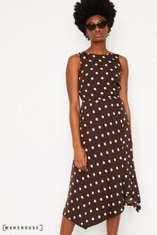 Warehouse Brown Spot Tie Back Midi Dress