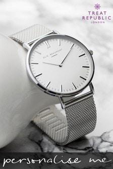 Personalised Women's Metallic Mesh Watch by Treat Republic
