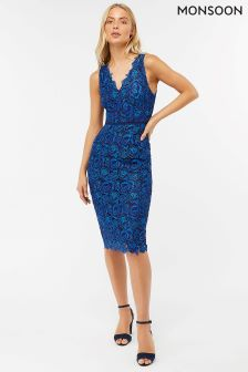 Monsoon Blue Christina Lace Dress