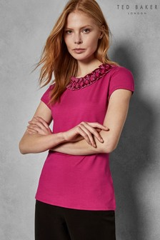 Ted Baker Pink Charre Bow Neck Floral Detail Tee