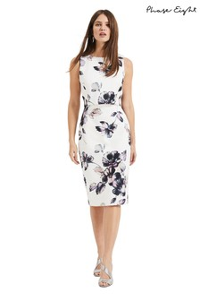 57e0483fe4 Phase Eight White Gracie Floral Scuba Dress
