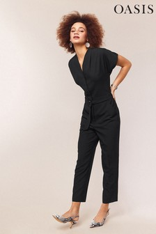 Oasis Black Elastic Back D Ring Jumpsuit