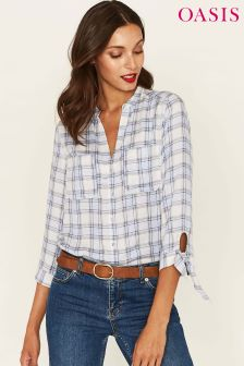 Oasis Blue Check Tie Sleeve Shirt