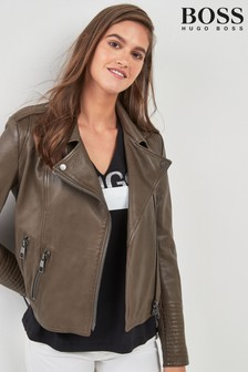 BOSS Olive Grey Premium Leather Biker Jacket