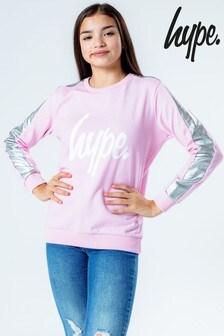 Hype. Pink Holo Side Stripe Kids Crew Jumper