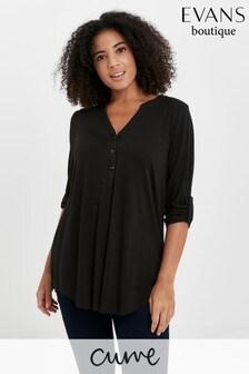 Evans Curve Black Jersey Longline Shirt