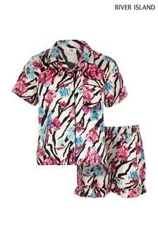 Пижама с цветочным принтом и зеброй River Island
