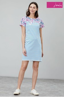 Joules Cream Riviera Print Short Sleeve Jersey Dress