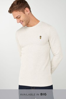 Textured Long Sleeve Badge Crew