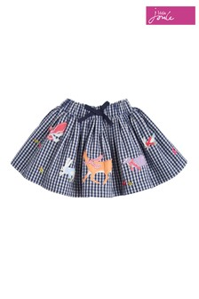 Joules Gingham Woodland Friends Woven Skirt