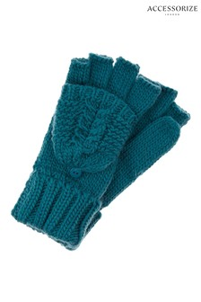 Accessorize Teal Gh Delicate Cable Capped Glove