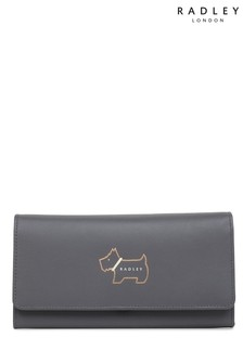 Radley London Grey Heritage Dog Large Flapover Matinee Purse