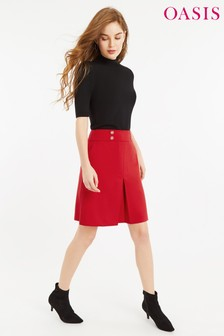 Oasis Red Button Detail Skirt