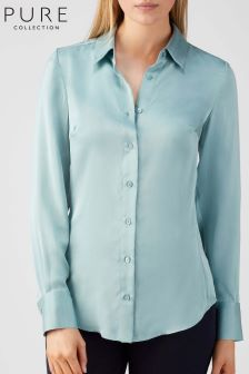 Pure Collection Blue Silk Satin Blouse