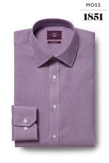 Moss Esq Regular Fit Purple Single Cuff Dobby Iron Shirt
