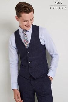 Moss London Skinny Fit Blue Donegal Waistcoat