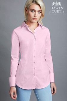Hawes And Curtis Pink Fitted Stretch Plain Single Cuff Shirt
