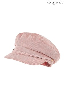 Accessorize Pink Cord Buckle Detail Baker Boy Hat