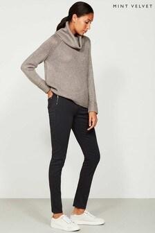 Mint Velvet Orlando Skinny Jeans mit Reißverschluss, Grau