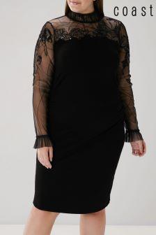 Coast Black Curve Ceri Tulle Knit Dress