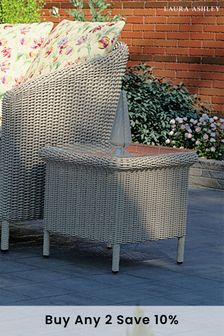 Arley Light Grey Outdoor Glass Top Side Table by Laura Ashley
