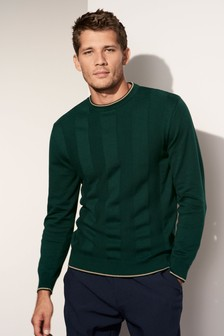 Textured Stripe Crew Neck Jumper