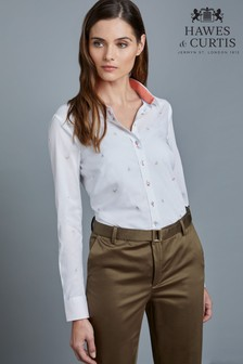 Hawes & Curtis White Embroidered Birds Shirt