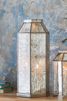 Mercury Glass Large Lantern