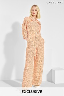 Mix/Cefinn Coral Dot Print Jumpsuit