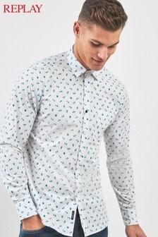 Replay® White Ditsy Print Shirt