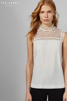 Ted Baker Ivory Clairy Lace Detail Ruffle Top