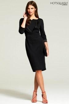 HotSquash Black Tuxedo Ponte Dress