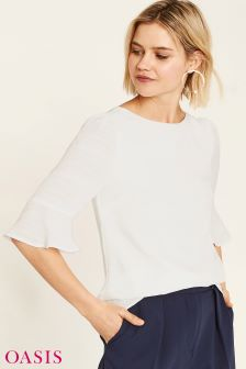 Oasis White Self Stripe Flute Top