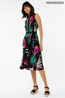 Monsoon Black Latoya Palm Print Shirt Dress
