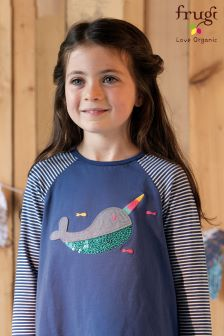 Frugi Blue Suzie Narwhal Swing T-Shirt