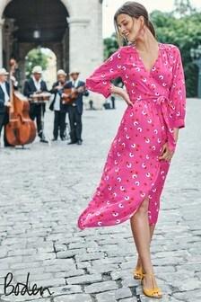 Boden Pink Floris Wrap Dress