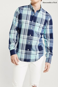 Abercrombie & Fitch Navy Plaid Shirt