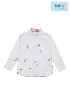 baker by Ted Baker White Shirt With All Over Print Airplanes Shirt
