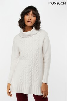 Monsoon Ladies Cream Calulla Cable Longline Jumper