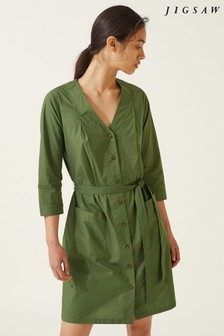 Jigsaw Green Sylvia Button Beach Dress