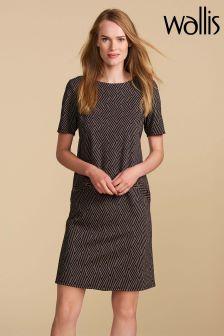 Wallis Petite Grey Pattern Jacquard Ponte Dress