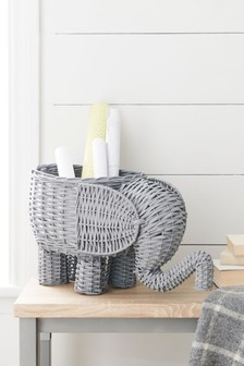 Elephant Shaped Wicker Storage Basket